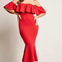 Off-the-Shoulder Flounce Mermaid Dress