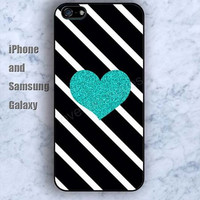 blue sparkle heart iPhone 5/5S Ipod touch Silicone Rubber Case, Phone cover
