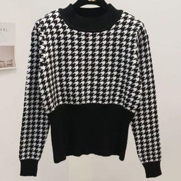 DCCKR2 New autumn and winter bottoming shirt black and white Houndstooth sweater women Black and white grid
