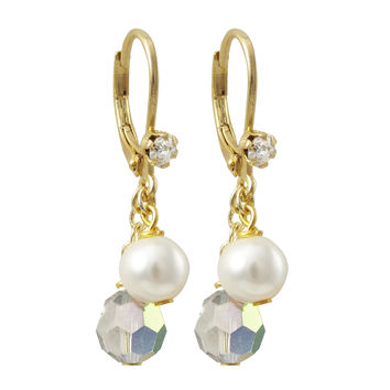 6mm Silver AB Preciosa Bead And 6mm White Glass Pearl On Gold Plated Surgical Steel With White Crystal Lever Back Earrings