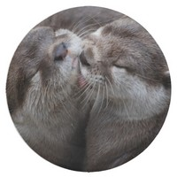 2 Kissing Otters Wildlife Photo Paper Plate