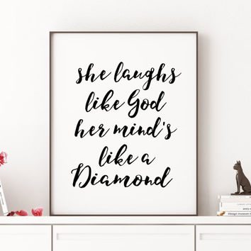 "Lana Del Rey - Carmen ""She Laughs Like God"" Quote Print Inspirational Quote Printable Wall Art Lana Del Rey Music Lyrics Print Girl Room"
