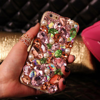 Mixed Crystal Phone Case for iPhone 7 7s for iphone 7 7s plus for iphone6 6s plus, for galaxy S6 S7 and more