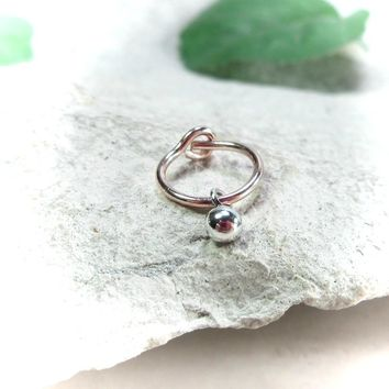 Helix Hoop Earring Pink Gold with Silver Bud Dangle Single