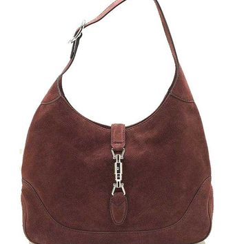 ONETOW Gucci New Jackie Suede Hobo Shoulder Bag 277520, Red