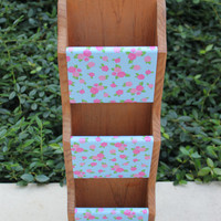 Shabby chic mail holder with pink on blue rose decoupage