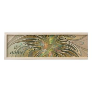 Floral Fantasy, Abstract Fractal Art Name Wooden Keepsake Box