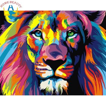 New home decor pictures on canvas diy oil painting by numbers drawing nodular pictures one the wall art animals color lion E564