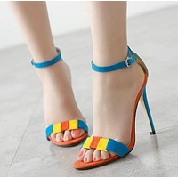 Stiletto Heel Peep-toe Ankle Strap Suede High Heel Sandals