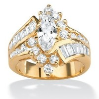 PalmBeach Jewelry 3.20 TCW Marquise-Cut Cubic Zirconia 14k Yellow Gold-Plated Ring