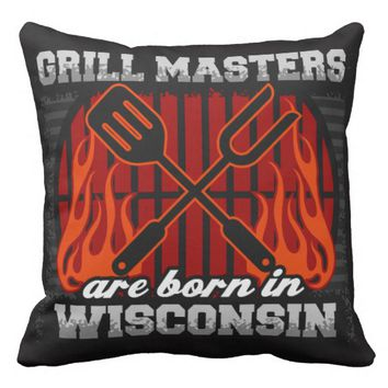 Grill Masters Are Born In Wisconsin Outdoor Pillow