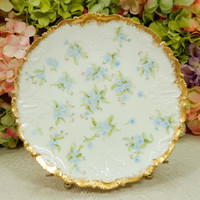 Beautiful Vintage Limoges Porcelain Plate ~ Blue Flowers ~ Gold Encrusted