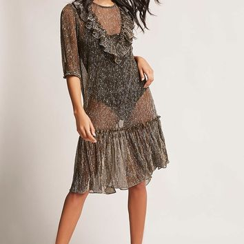 Sheer Metallic Dress