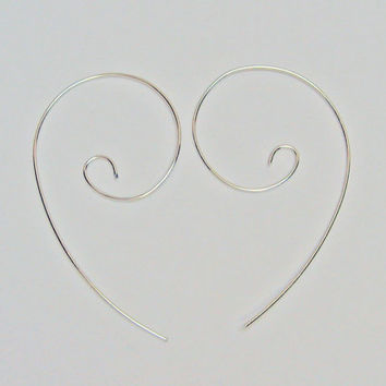 Hoop Earrings, 14 Gold Fill or 925 Sterling Silver, Long Modern Earrings, Simple Earrings, Light Weight, Wire Hoop Handcraffed Earrings