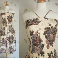 1970's Wildflower Sundress / Smocked Dress / Floral Loomskill Fabric / Small - Medium / Vintage 70s