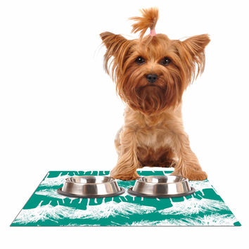 "Love Midge ""Teal Brush "" White Abstract Dog Place Mat"