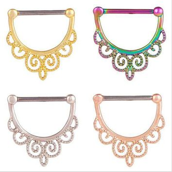ac PEAPO2Q New Arrival Stainless Steel Flower Nose Rings Ear Studs Septum Piercing Bar Nose Hoop Fake Nose Rings & Studs Women Body Jewelry