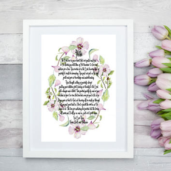 Personalized Mother's Wall Print, Personalized Mother Poem, Christian Mom Wall Art Decor, Wife Wall Art, Hibiscus Flower Wall Art, Mom Art