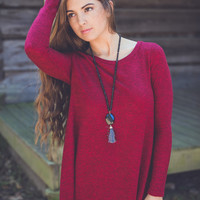 Berry Sweater Dress in Burgundy