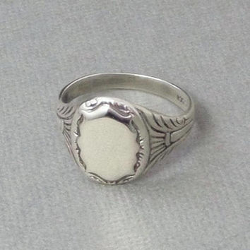 Edwardian Antique SIGNET Ring, SOLID Silver 830 European, Mens Signet Rings, Womens Ring, Size 9 1/2, BLANK Engravable Crest, Christmas Gift