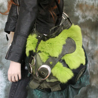 Lime green fur & leather unique purse cyberpunk style high fashion hobo bag cyber goth rocker metalhead raw edges asymmetrical shape by SSB