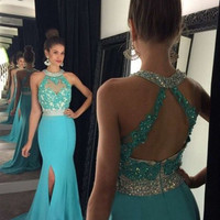 2017 Blue Mermaid Prom Dress Chiffon Halter Neck With Appliques Lace Beads Side Split Sweep Train Formal Evening Gowns Party