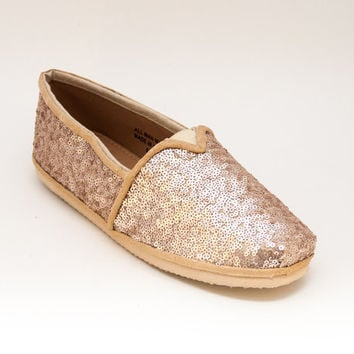 Sequin Champagne Gold Tiny Sequins Canvas Alpargata Slip On Classics Canvas Shoes