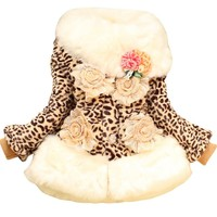 Baby Girls Kid Toddler Fur Collars Fleece Clothes Hoodie Winter Coat Jacket Outwear