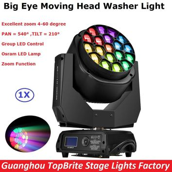 1Pcs/Lot Discount Price 19X15W RGBW Quad Color Osram Lamp LED Big Bee Eye Moving Head Washer Lights 110-240V With Zoom Function
