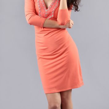 Beaded Coral Jersey Shift Dress