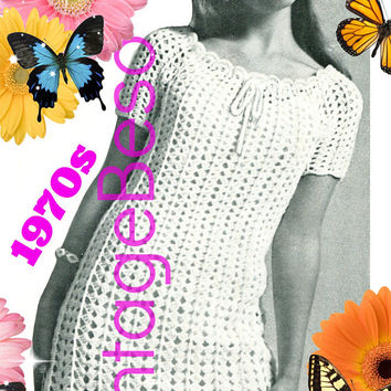 DIGITAL PATTERN • Ladies Lace Dress Crochet Pattern • PdF Pattern • Ladies Lightweight Drawstring Mini Dress Vintage 1970s • Sizes 6 8 10 12