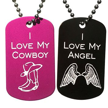 I Love My Angel & I Love My Cowboy Dog Tag Necklaces (Pair)