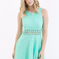 Lila Lace Dress in Dark Mint