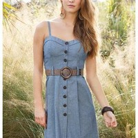 BELTED CHAMBRAY DRESS
