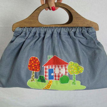 Vintage 70s Applique Home Sweet Home Purse Wooden Handles Knitting Bag