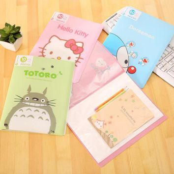Cute 10 Pockets Totoro Hello Kitty A4 Clear Page Document File B