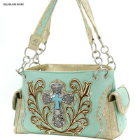 WESTERN RHINESTONE CROSS HANDBAGS CONCEALED CARRY PURSES In Mint