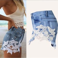 women s denim jeans rivet hole ripped casual shorts t23