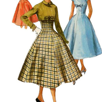 1950s Fitted Empire Waist Dress Flared Skirt Bateau Neckline & Back Button Bolero Jacket Bust 34 SIMPLICITY 1716 RARE VINTAGE Sewing Pattern