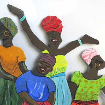Paper mache wall hanging. African women dancing. Traditional African dress. Folk Art. Wall decoration. Handmade, hand painted original art.