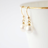 Simple pearls 18k Gold Earrings, Everyday Jewelry with free gift box, solitaire minimalist simple tiny
