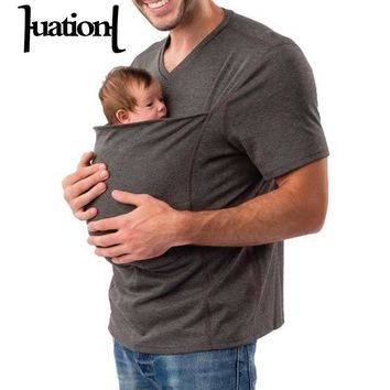 Huation 2018 Summer Baby Carrier Sling Kangaroo T-Shirt Men Multifunction Short Sleeve t-shirt for Dad Baby Crossfit Tee Shirt
