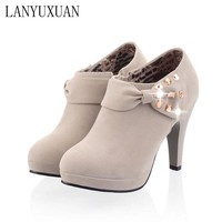 LANYUXUAN 2017 Women Shoes Big Size Sale 34-43 Apricot New Women Pumps Platform High Heels Ladies Party Shoes C-8