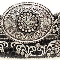 Ariat Women's Western Rhinestone Black Leather Belt