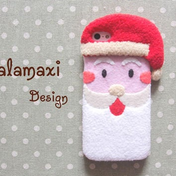 Handmade Santa Claus iPhone 6S Case, Felt Christmas Phone Case, Santa Phone Case for Samsung S6 Edge, Custom Phone Case, Christmas Gift Idea