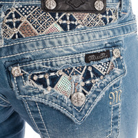Miss Me LT 50 Short - Bermuda - Light Wash - Embellished Waistband Womens Premium Jeans - Womens Desinger Denim - Rock Revival Miss Me Mek Big Star from For Elyse
