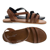 Dotty4 Tan By Bonnibel, Open Toe Flat Sandal w Triple Perforated Straps. Women's Summer Shoes