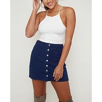 woven button up essential denim mini skirt with front pockets - navy