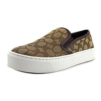 Coach Cameron Womens Khaki/Chestnut Slip On Loafer Shoes