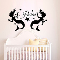 Personalized Name Mermaids Water Nymphs Wall Decal Vinyl Sticker Wall Decor Home Interior Design Art Murals NA1